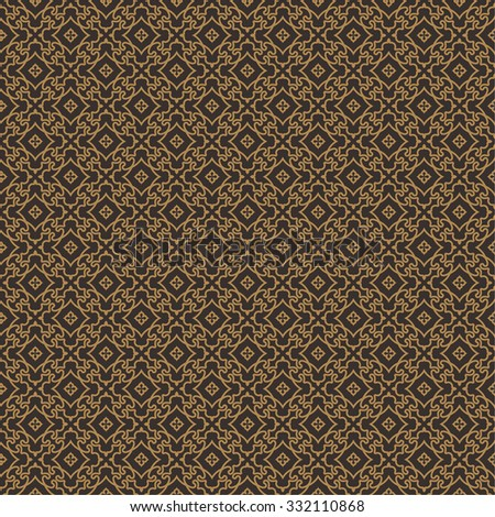 Vector seamless pattern. Luxury elegant texture with spiral elements and rhombuses. Pattern can be used as a background, wallpaper, wrapper, page fill, element of ornate decoration