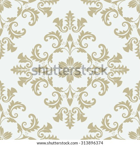 Vector seamless pattern. Luxury floral stylish texture of damask or baroque style. Pattern can be used as a background, wallpaper, page fill,  an element of decoration, ornate style - stock vector