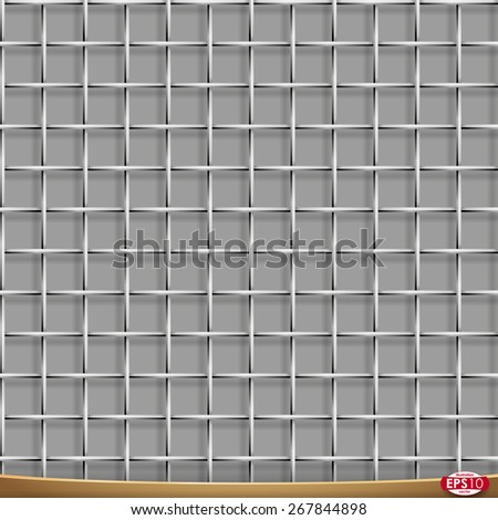 Vector seamless pattern. Metal wire netting, cross structure. Grayscale illustration with shadows on gray background. High detailed. - stock vector