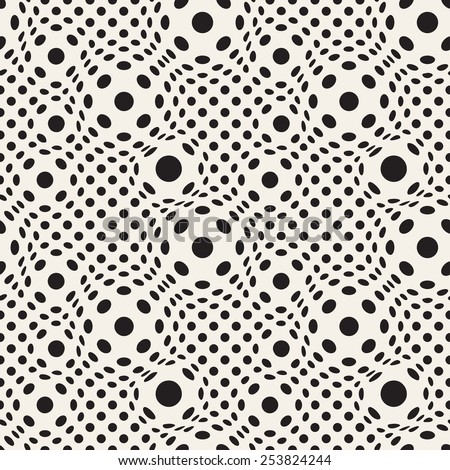 Vector seamless pattern. Modern distorted texture. Stylish abstract background. Dotted grid with visual effect of swollen. Monochrome illustration with optic illusion - stock vector