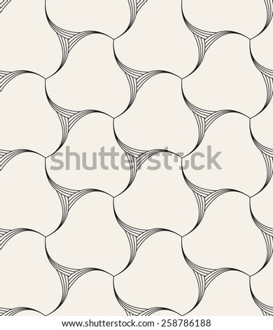 Vector seamless pattern. Modern geometric linear texture. Repeating abstract background with twisted triangular elements. Contemporary graphic design. - stock vector