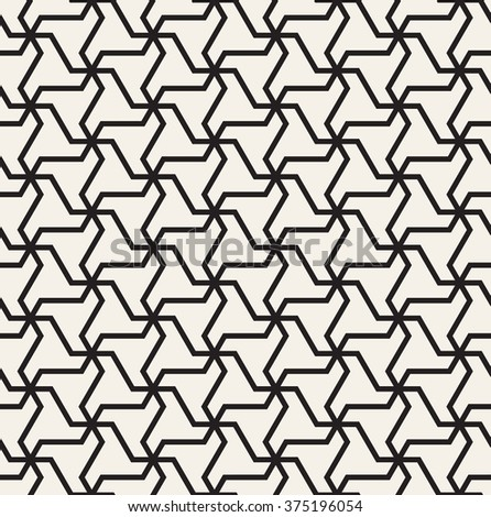 Vector seamless pattern. Modern geometric monochrome texture. Repeating abstract background with twisted triangular elements. - stock vector