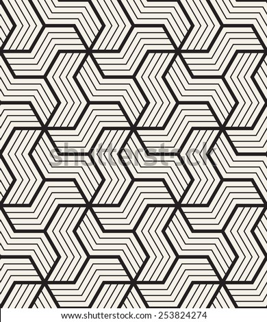 Vector seamless pattern. Modern geometric texture. Repeating abstract background. Polygonal linear grid from striped elements - stock vector