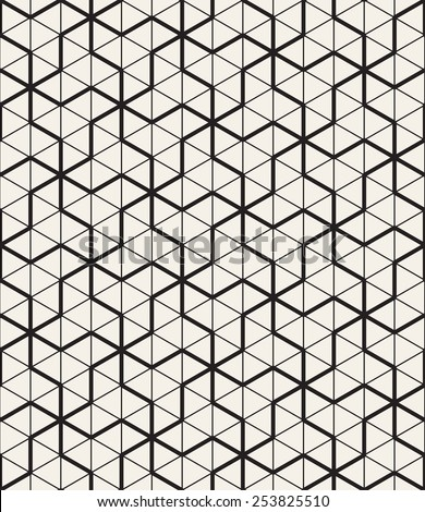 Vector seamless pattern. Modern geometric texture. Repeating abstract background. Polygonal linear trellis on the base of triangular grid - stock vector