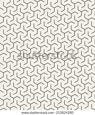 Vector seamless pattern. Modern geometric texture. Repeating abstract background with twisted triangular elements. Linear simple grid - stock vector