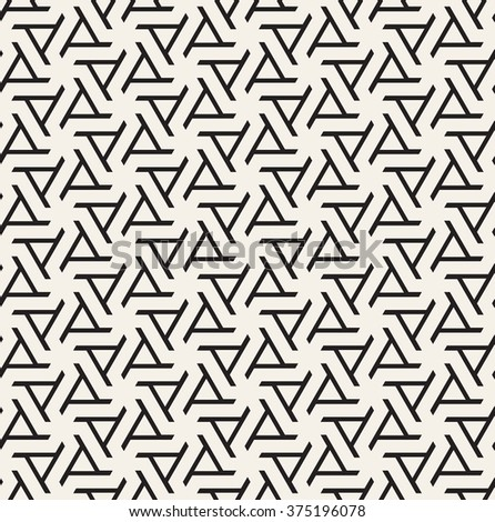 Vector seamless pattern. Modern geometric texture. Repeating abstract background with twisted triangular elements. Linear simple design. - stock vector