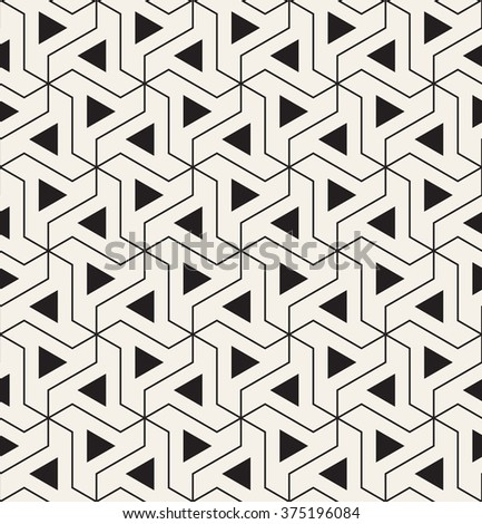 Vector seamless pattern. Modern geometric texture. Repeating abstract background with twisted triangular elements. Linear simple grid and filled triangles. - stock vector