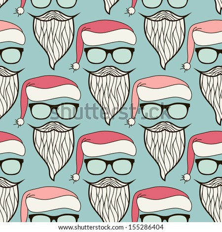 Vector seamless pattern. Modern hipster print with Santa Claus. Stylish sunglasses, Santa's hat, mustache and beard - stock vector