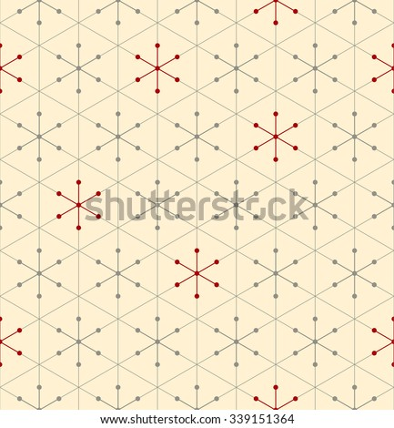 Vector seamless pattern. Modern snowflake texture. Repeating geometric christmas background with triangles and dots.