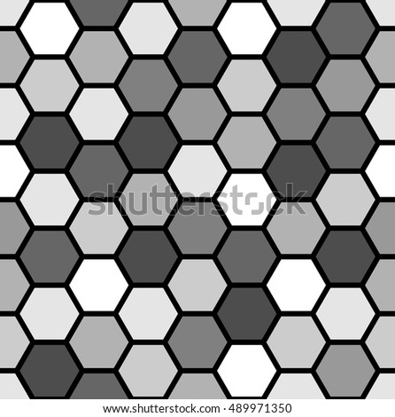 Vector seamless pattern. Modern stylish texture. Abstract geometric background of grey hexagonal mosaic.