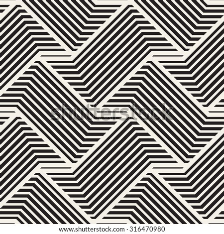 Vector seamless pattern. Modern stylish texture. Geometric striped ornament. Monochrome braids from broken lines.
