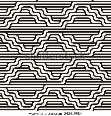 Vector seamless pattern. Modern stylish texture. Geometric striped ornament. Monochrome geometric waves