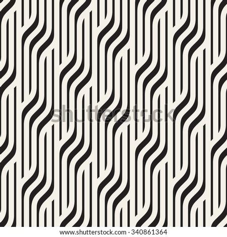 Vector seamless pattern. Modern stylish texture. Geometric striped ornament. Monochrome geometric braids. - stock vector