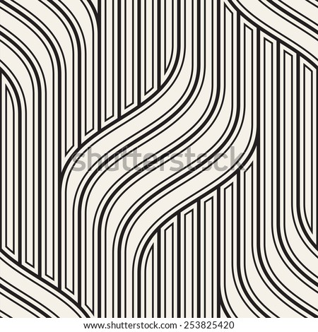 Vector seamless pattern. Modern stylish texture. Geometric striped ornament. Monochrome linear braids - stock vector