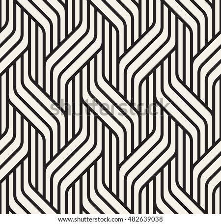 Vector seamless pattern. Modern stylish texture. Geometric striped ornament. Monochrome linear braids.
