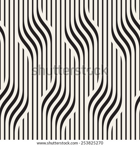 Vector seamless pattern. Modern stylish texture. Geometric wavy ornament. Monochrome striped braids - stock vector