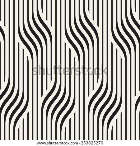 Vector seamless pattern. Modern stylish texture. Geometric wavy ornament. Monochrome striped braids - stock vector