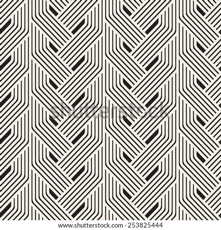 Vector seamless pattern. Modern stylish texture. Geometric wavy ornament. Monochrome striped braids