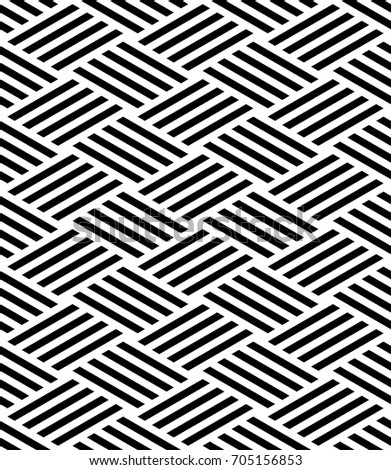 Vector seamless pattern. Modern stylish texture. Monochrome geometric pattern with intersecting rectangular stripes