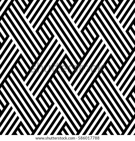 Vector seamless pattern. Modern stylish texture. Monochrome geometrical pattern. Interlacing bands.