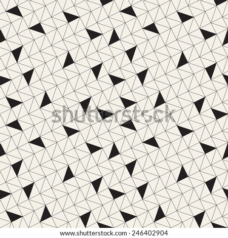 Vector seamless pattern. Modern stylish texture of mesh. Repeating abstract background. Linear grid with randomly disposed filled triangles - stock vector