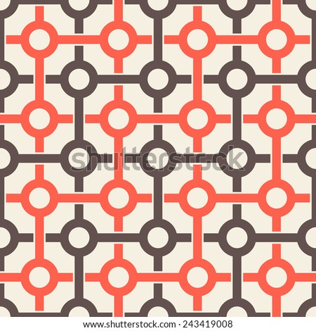 Vector seamless pattern. Modern stylish texture. Repeating abstract background. Fine bicolor grid with linear rings - stock vector