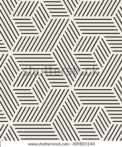 Vector seamless pattern. Modern stylish texture. Repeating geometric background. Cubes with striped faces. - stock vector