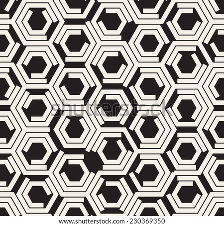 Vector seamless pattern. Modern stylish texture. Repeating geometric background. Monochrome hexagons broken in some faces - stock vector
