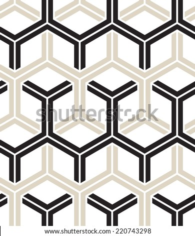 Vector seamless pattern. Modern stylish texture. Repeating geometric background with hexagons - stock vector