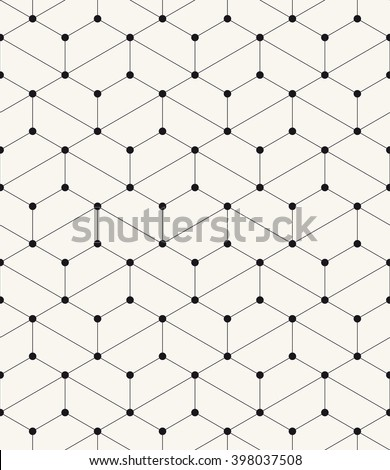 Vector seamless pattern. Modern stylish texture. Repeating geometric background with hexagons. Filled circles in nodes. Trendy graphic design. - stock vector