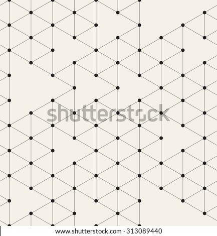 Vector seamless pattern. Modern stylish texture. Repeating geometric background with linear triangles. Small filled black circles in nodes. Trendy hipster print. - stock vector