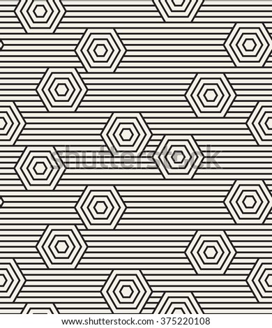 Vector seamless pattern. Modern stylish texture. Repeating geometric background with linear hexagons. - stock vector