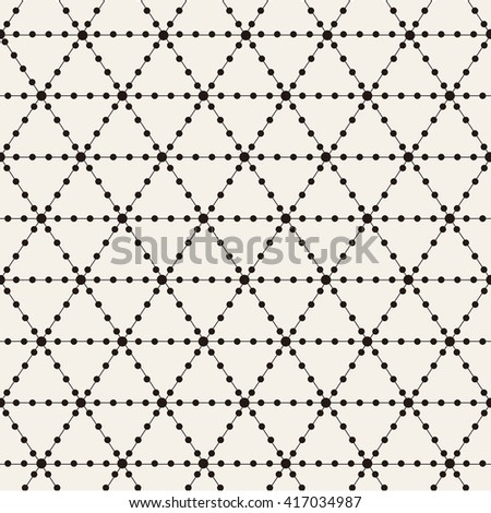 Vector seamless pattern. Modern stylish texture. Repeating geometric background with linear rhombuses and circles in nodes