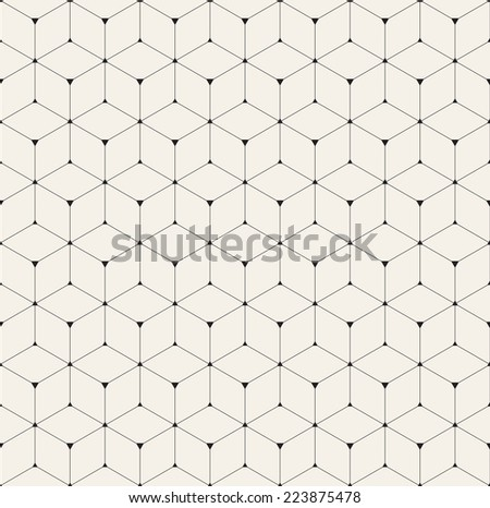Vector seamless pattern. Modern stylish texture. Repeating geometric background with linear rhombus and triangles in nodes - stock vector