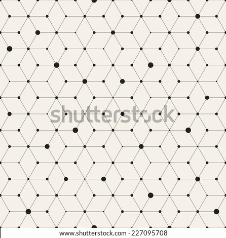 Vector seamless pattern. Modern stylish texture. Repeating geometric background with rhombus and nodes from rhombuses with circles variously sized in nodes - stock vector