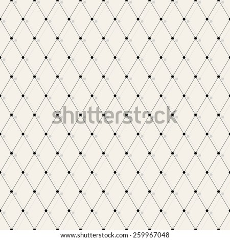 Vector seamless pattern. Modern stylish texture. Repeating geometric background with rhombus and nodes with shadow. eps