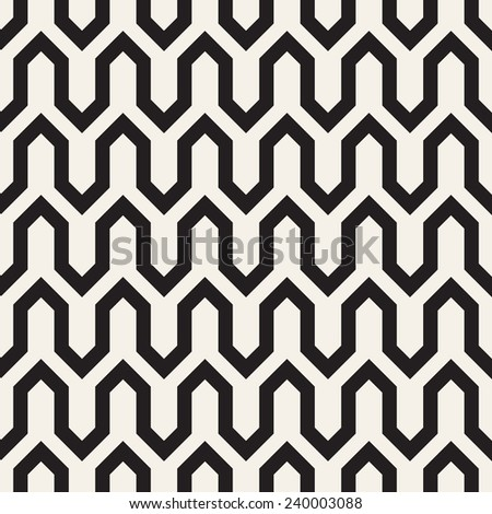 Vector seamless pattern. Modern stylish texture. Repeating geometric background with shifted zigzag - stock vector