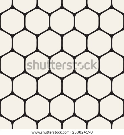 Vector seamless pattern. Modern stylish texture. Repeating geometric grid. Simple monochrome hexagonal trellis. - stock vector
