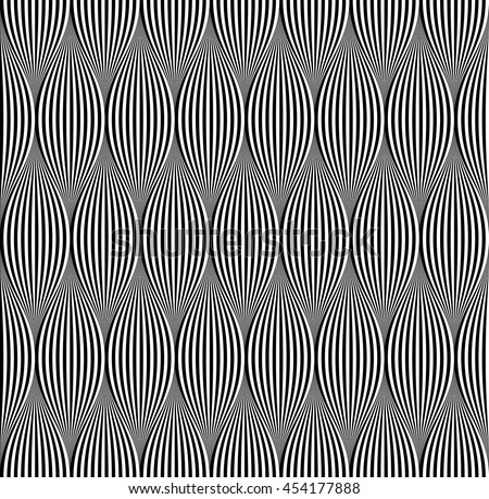 Vector seamless pattern. Modern stylish texture. Repeating geometric ornament with wavy stripes