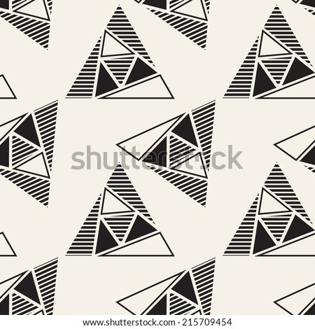Vector seamless pattern. Modern stylish texture. Repeating geometric tiles. Composition from striped, empty and filled triangles - stock vector