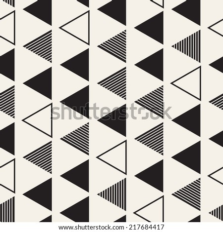 Vector seamless pattern. Modern stylish texture. Repeating geometric tiles. Composition from striped, empty and filled triangles
