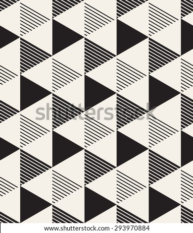 Vector seamless pattern. Modern stylish texture. Repeating geometric tiles. Composition with striped triangles. - stock vector
