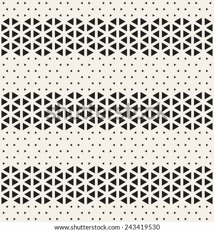 Vector seamless pattern. Modern stylish texture. Repeating geometric tiles from triangles. Monochrome grid with stripes from different thickness - stock vector