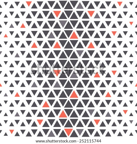 Vector seamless pattern. Modern stylish texture. Repeating geometric tiles from triangles. Triangular grid with thickness which changing towards the center. Randomly disposed red accents - stock vector