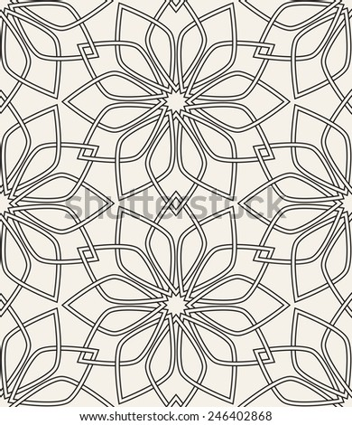 Vector seamless pattern. Modern stylish texture. Repeating geometric tiles. Geometric flowers with interlased linear petals - stock vector