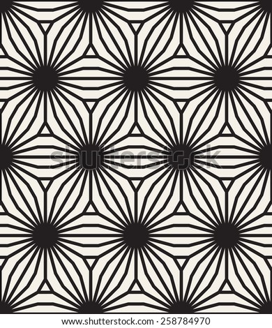 Vector seamless pattern. Modern stylish texture. Repeating geometric tiles. Geometric hexagonal flowers with striped petals. Contemporary graphic design. - stock vector
