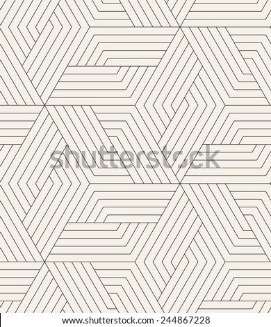 Vector seamless pattern. Modern stylish texture. Repeating geometric tiles. Linear grid with striped rhombuses which form hexagonal stars - stock vector