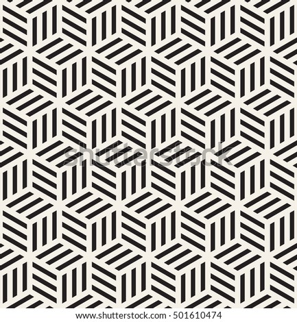 Vector seamless pattern. Modern stylish texture. Repeating geometric tiles. Striped monochrome cubes.
