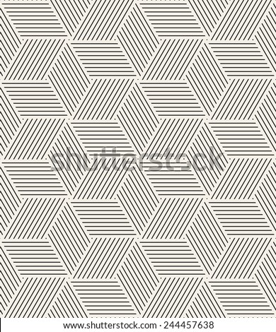 Vector seamless pattern. Modern stylish texture. Repeating geometric tiles. Striped triangles which are forming hexagons - stock vector