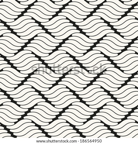 Vector seamless pattern. Modern stylish texture. Repeating geometric tiles. Wavy smooth ripple - stock vector